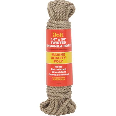 Do it 1/4 In. x 50 Ft. Natural Twisted Unmanila Polypropylene Packaged Rope