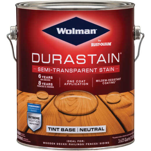 Wolman DuraStain One Coat Semi-Transparent Wood Exterior Stain, Neutral 1 Gal.