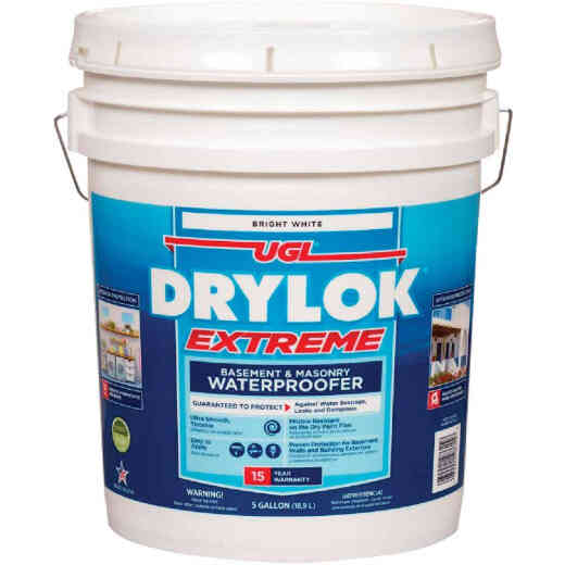 Drylok White Basement & Masonry Waterproofer Concrete Sealer, 5 Gal.