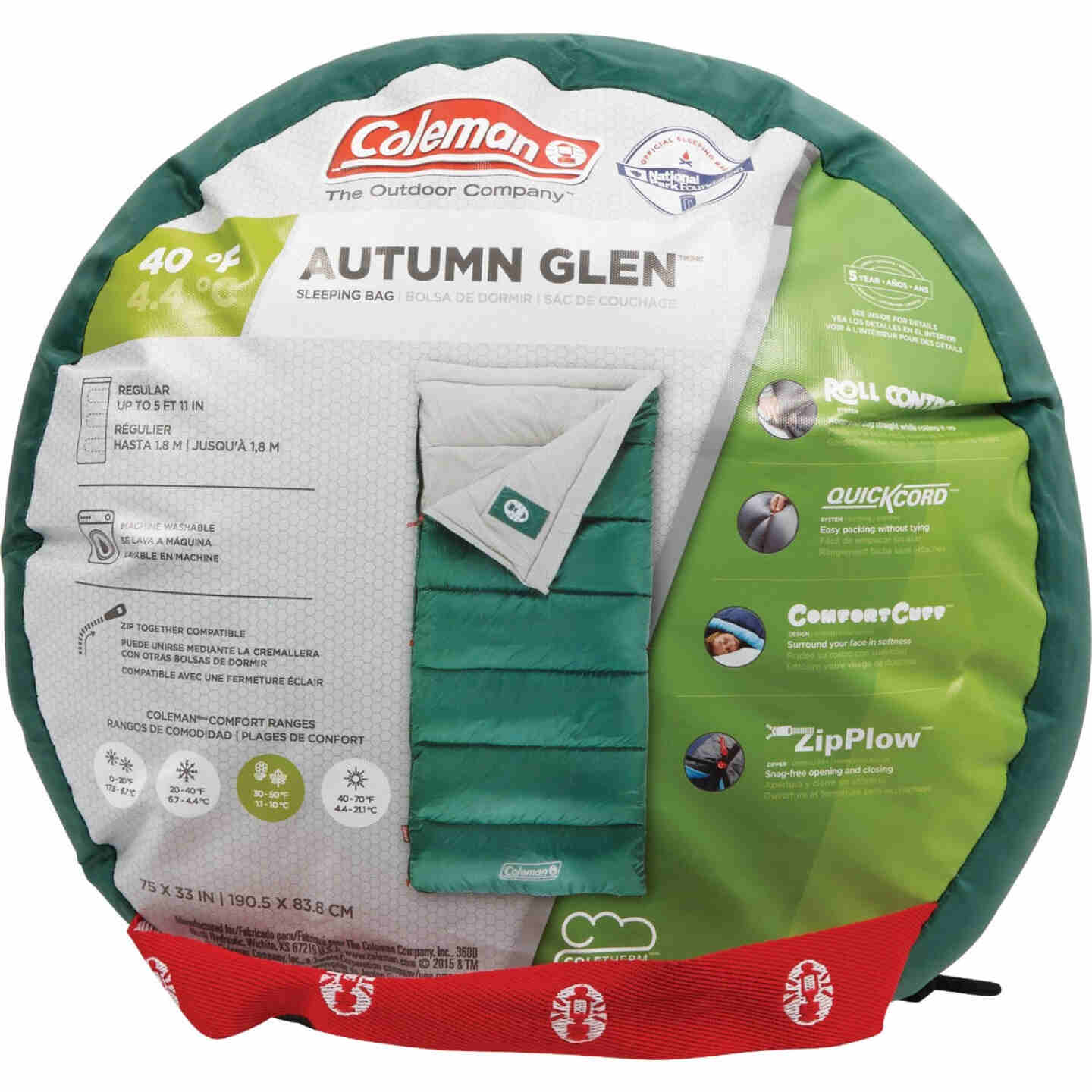 Coleman 40 Degree 33 In. W. x 75 In. L. Green Adult Sleeping Bag Image 2